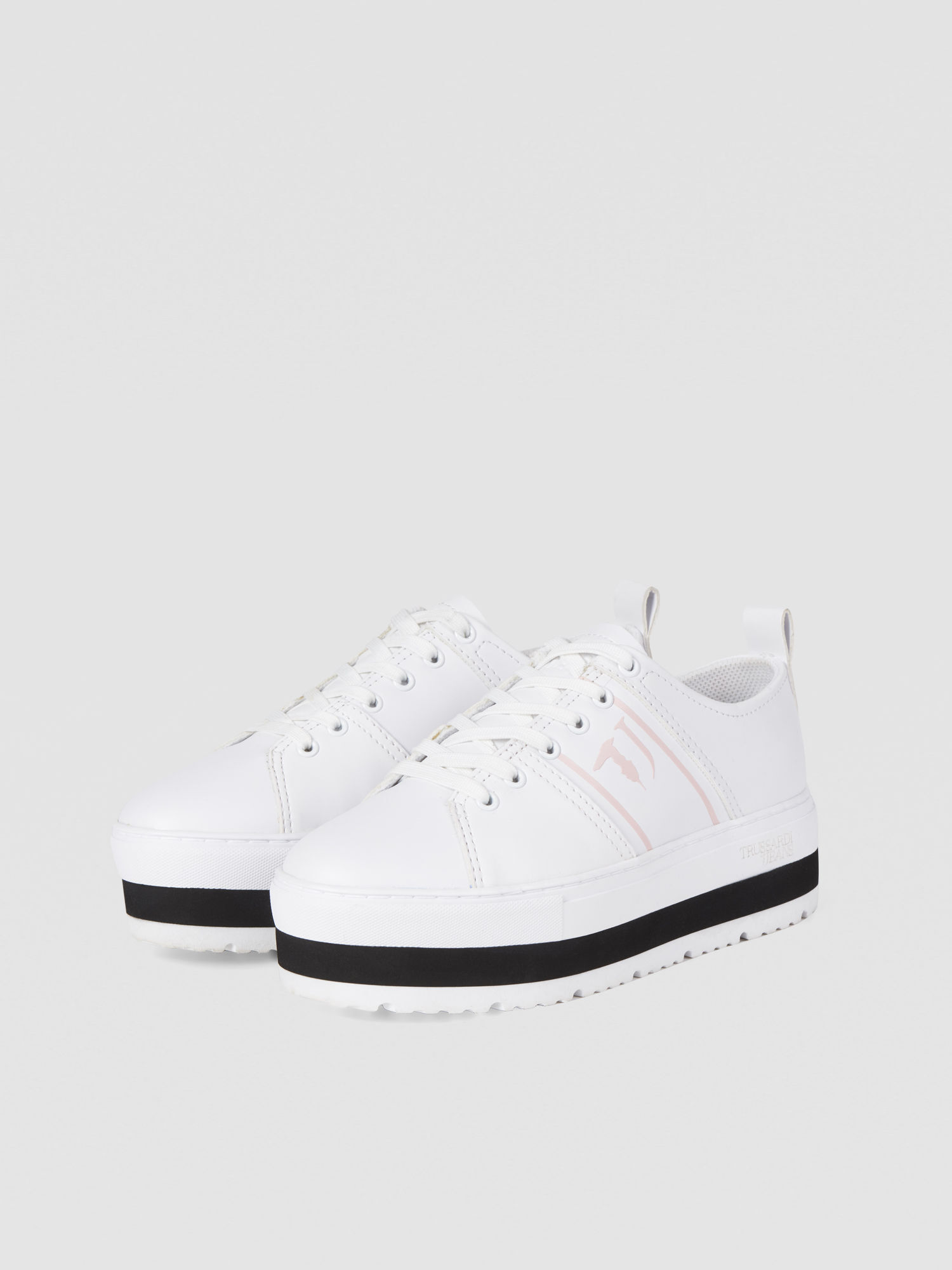 Faux leather sneakers with platform