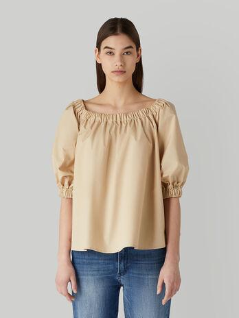Schulterfreie Bluse aus Baumwollpopeline