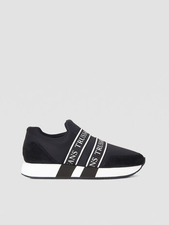 Fabric running sneakers with branded tape details