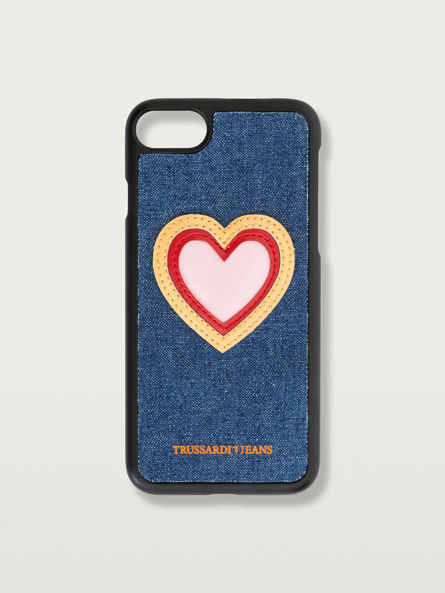 Funda iPhone 7 rigida con parche corazon