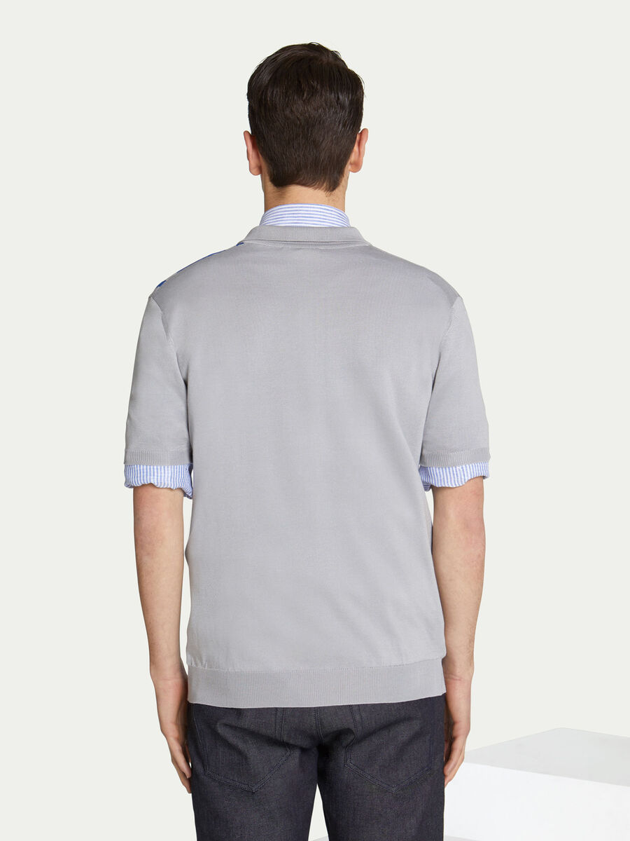 Regular fit cotton polo shirt half sleeves and band