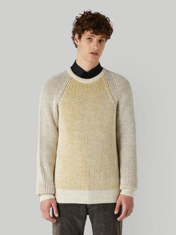 Regular-fit plaited-rib wool pullover