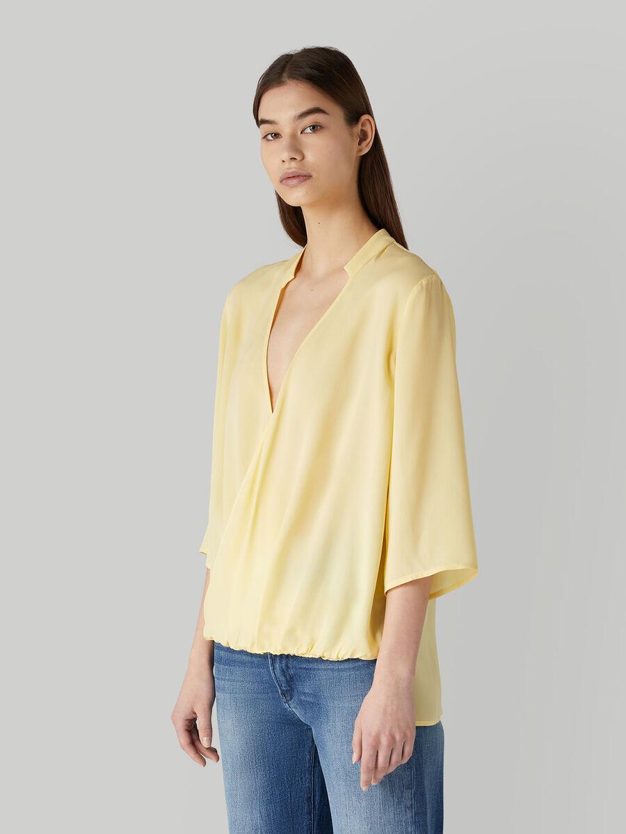 Viscose crepe wrap blouse