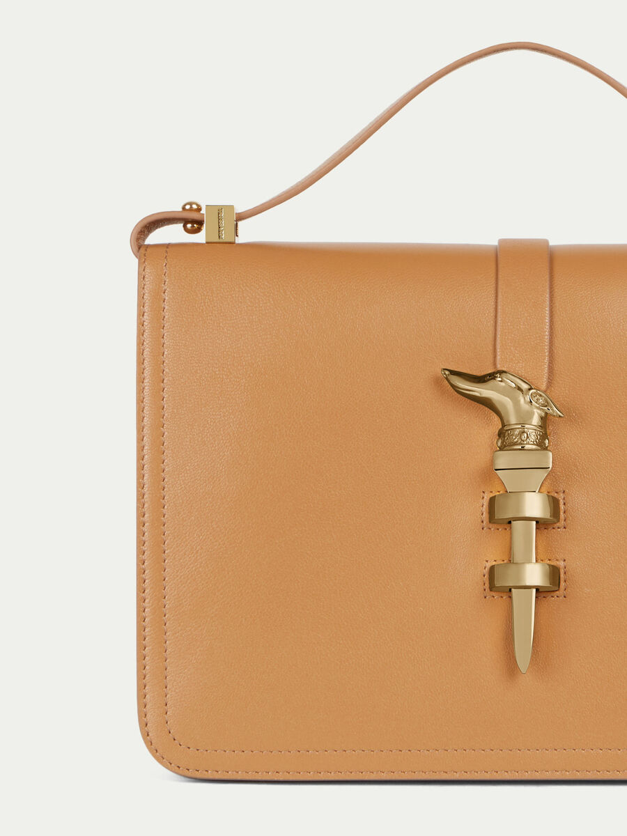 Leila midi leather shoulder bag with levriero