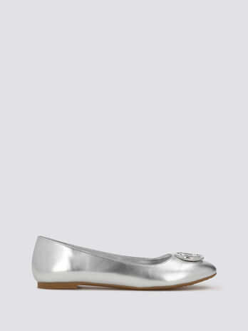 Shiny ballet flats with logo