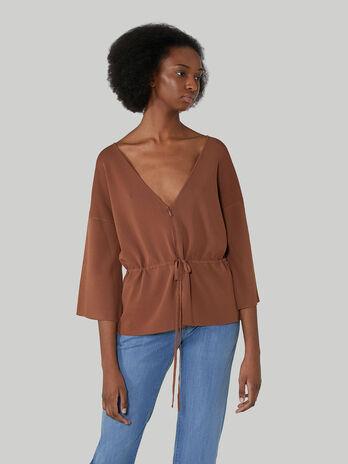 Regular-fit zip-up viscose cardigan