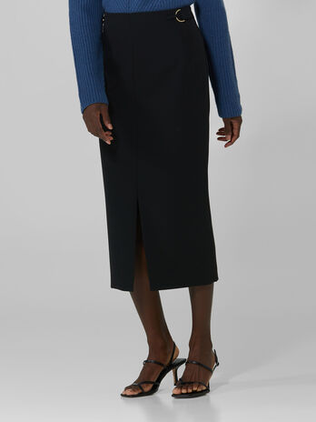 Technical cady midi skirt with central slit