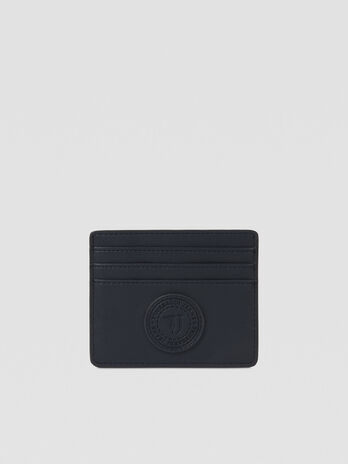Faux leather card holder with monogram logo