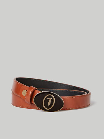 Ceinture a boucle monogramme emaillee