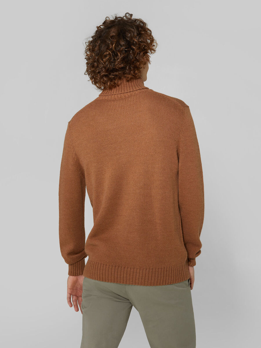 Oversized wool and alpaca polo neck pullover