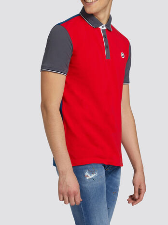 Polo regular fit in piquet bicolor e mini logo
