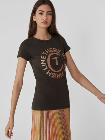 Slim-fit stretch cotton T-shirt with logo