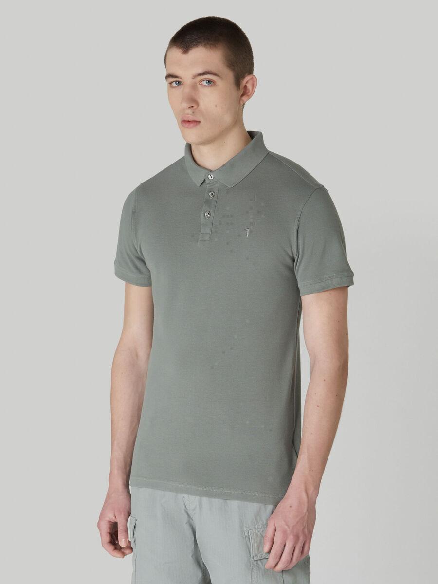 Pantalon en pique de coton de couleur unie