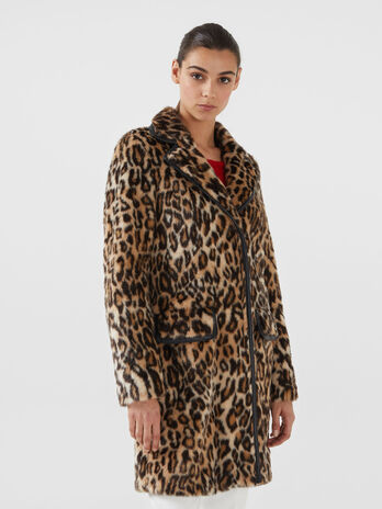 Cappotto regular fit in pelliccia sintetica animalier