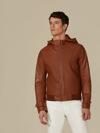 Bomber regular fit in pelle con cappuccio