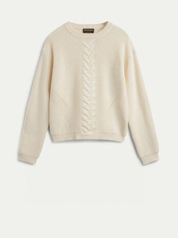 Pullover in lana con motivo a treccia