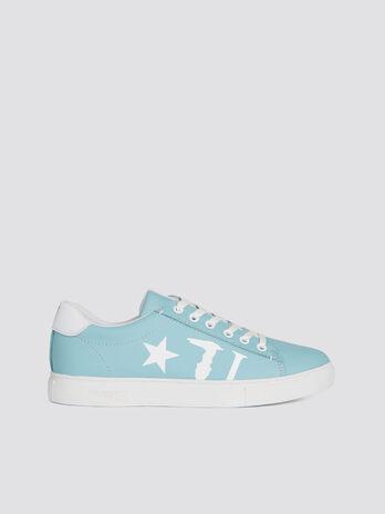 Sneaker aus einfarbigem Lederimitat mit Logo mit Stern