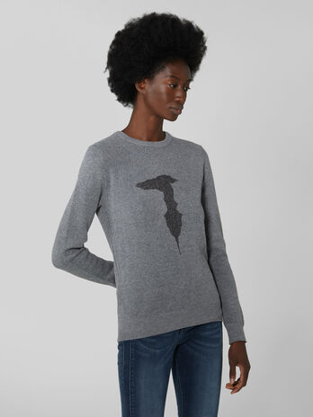 Regular fit wool and viscose pullover