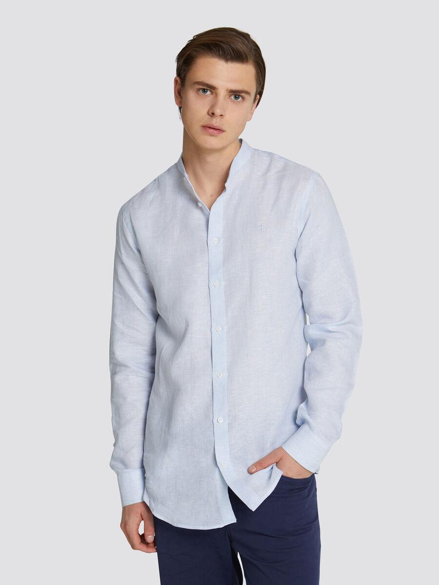 Mao collar shirt with tonal stripes