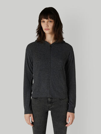 Zip-up wool and cashmere cardigan