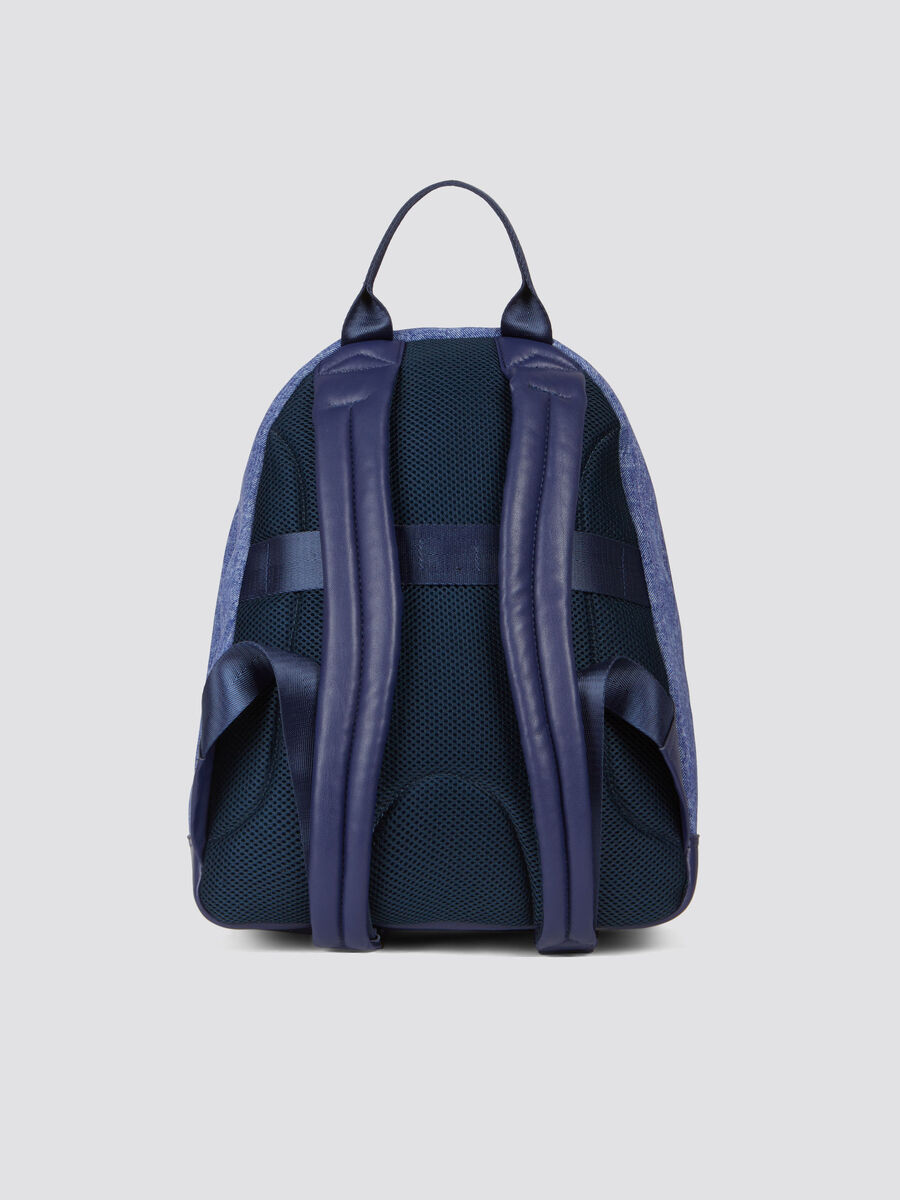 Neo denim faux leather and neoprene backpack