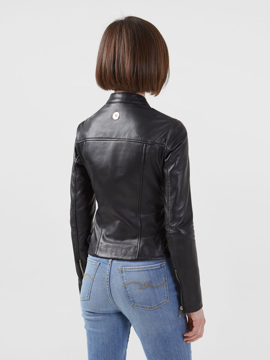 Slim fit biker jacket in soft touch leather