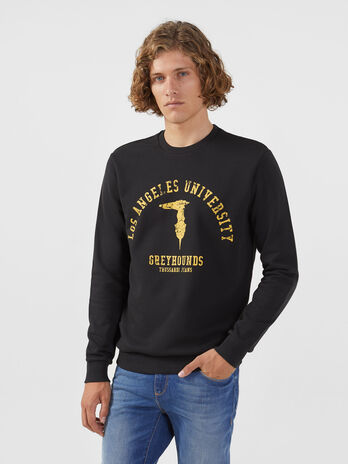 Regular fit cotton sweatshirt with contrasting print