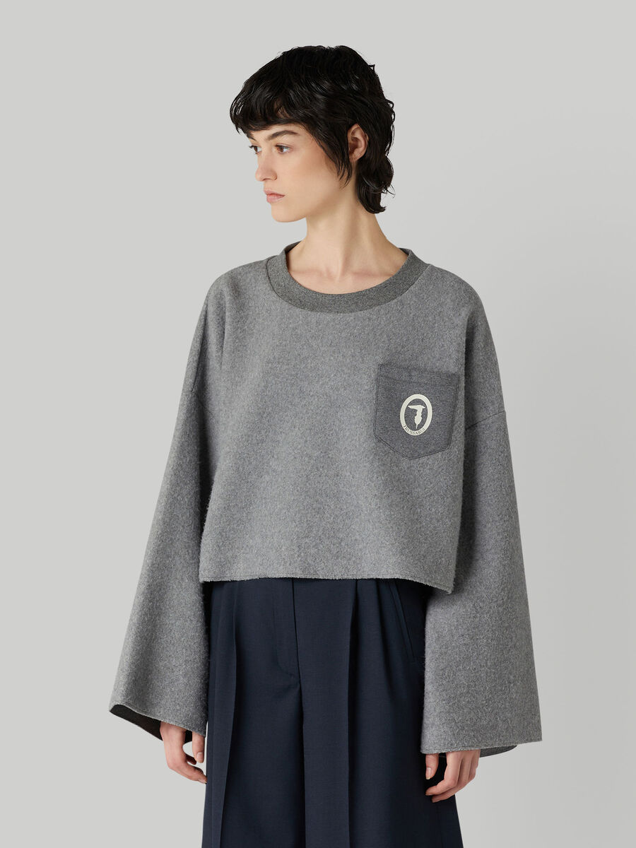 Sweat-shirt cropped en coton a poche poitrine