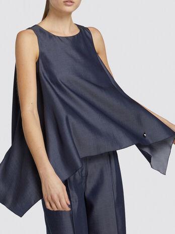 Blusa regular fit in tencel effetto denim