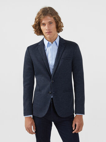 Blazer slim fit in jersey con micro fantasia