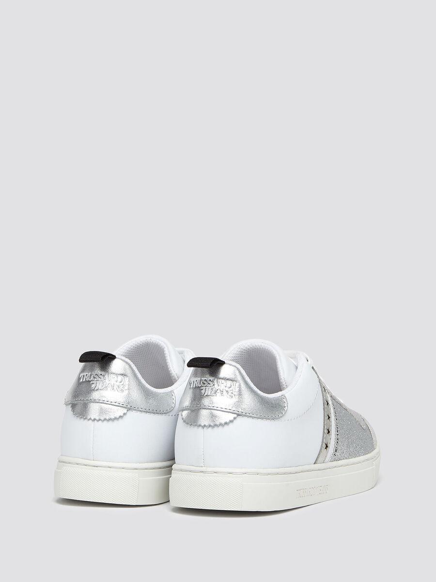 Sneakers in pelle glitterata