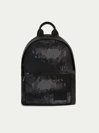 Nylon and leather backpack with camouflage print