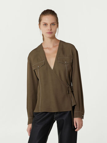 Viscose twill wrap front blouse