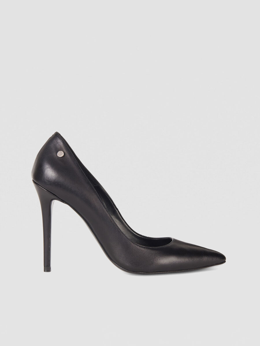 High heeled nappa leather pumps