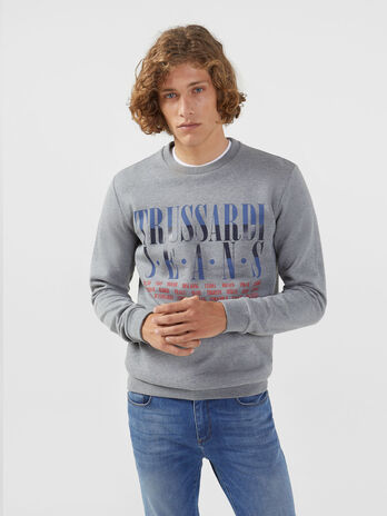 Regular fit cotton sweatshirt with multi coloured print