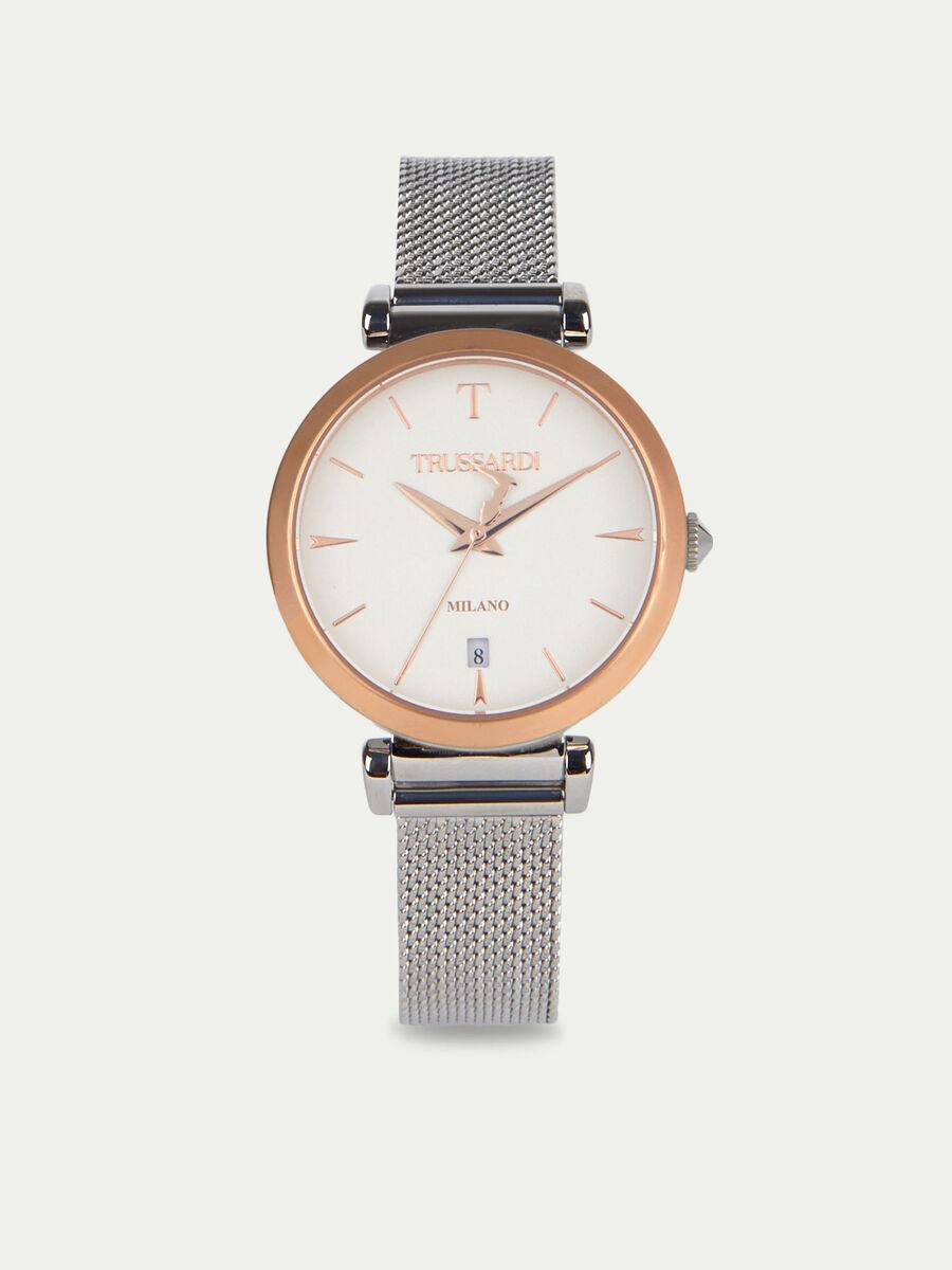 Armbanduhr T-Exclusive mit Chevron Milanaise Armband