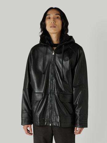Leather jacket with hood and zip