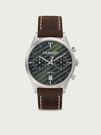 Watch with chronographs and leather strap