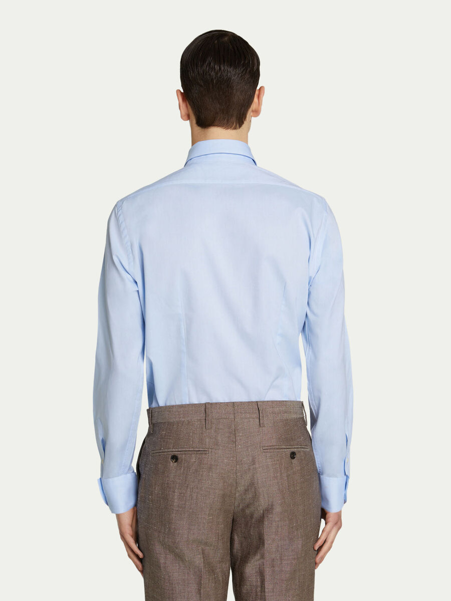 Regular fit shirt in solid colour cotton