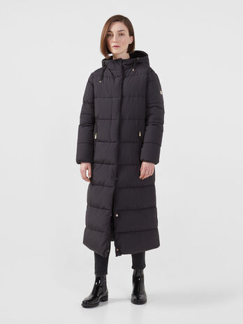 Long regular fit down jacket in matte nylon