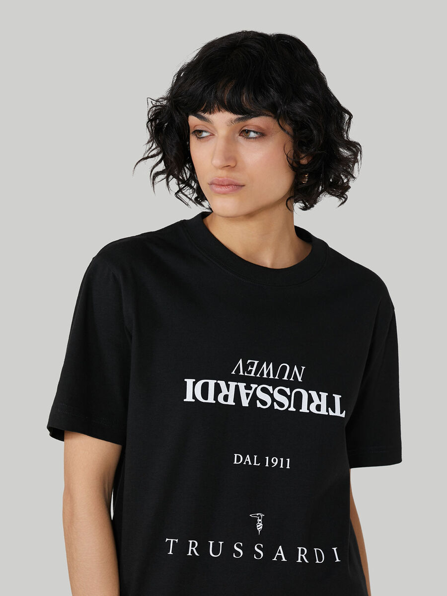 Oversized cotton T-shirt with lettering print