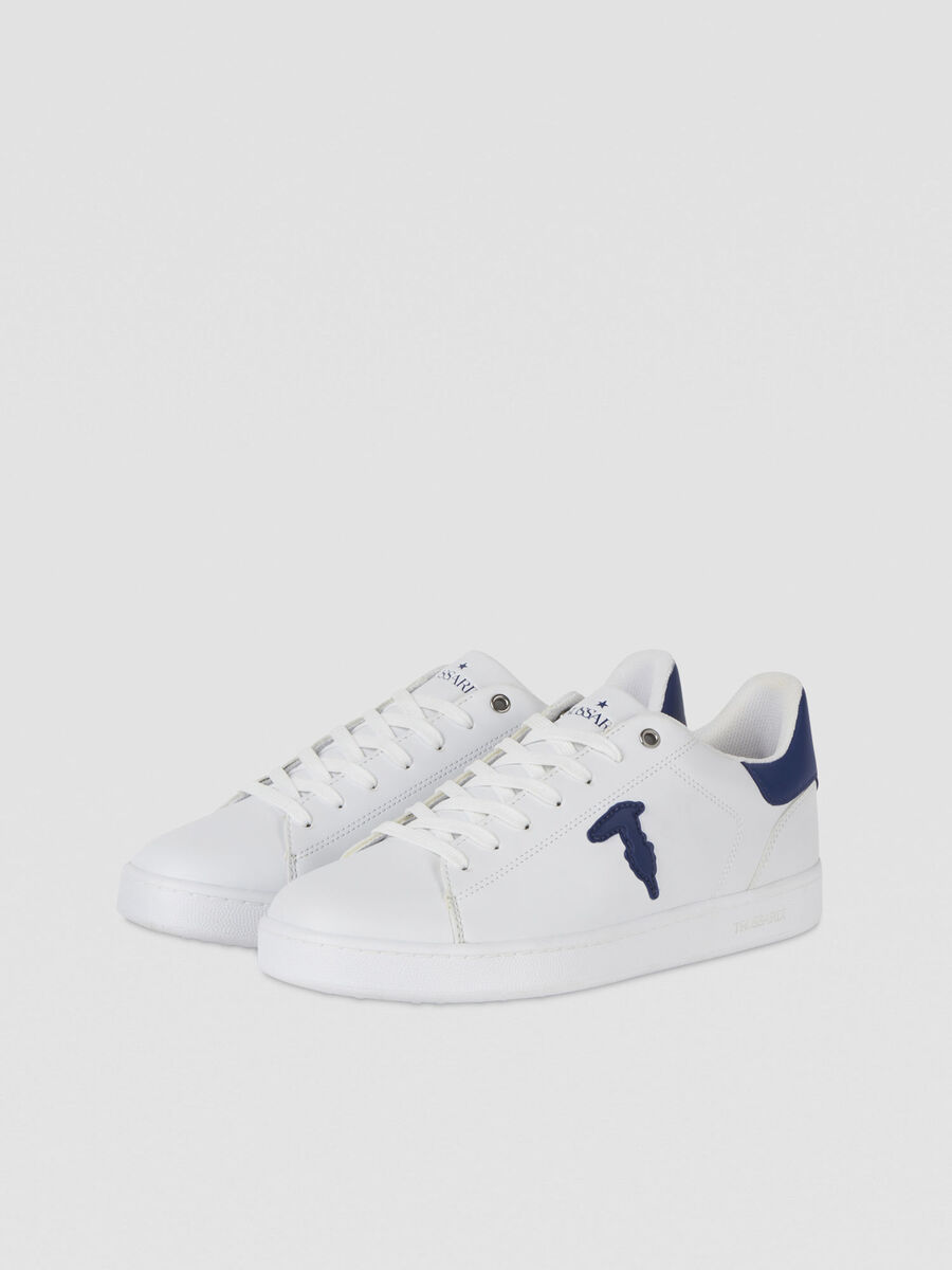 Sneakers en cuir a piece monogramme