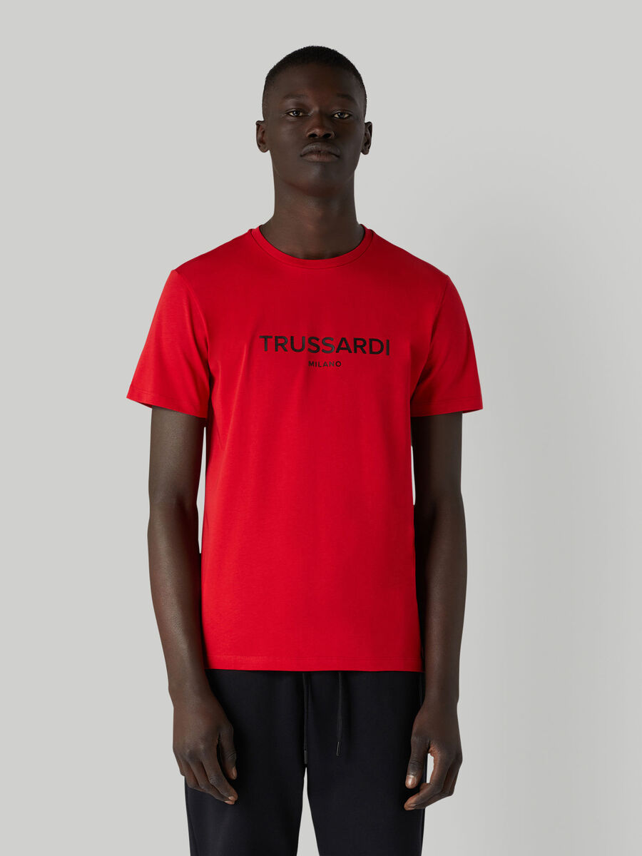 Cotton jersey T-shirt with lettering