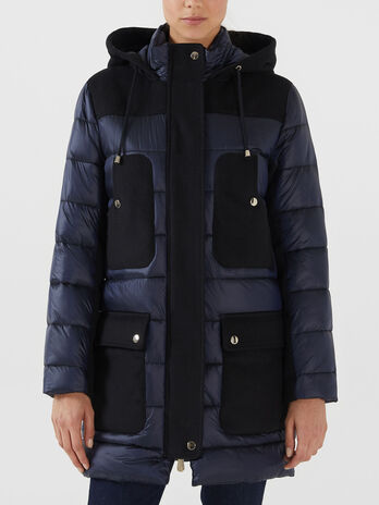 Regular fit nylon and fabric parka