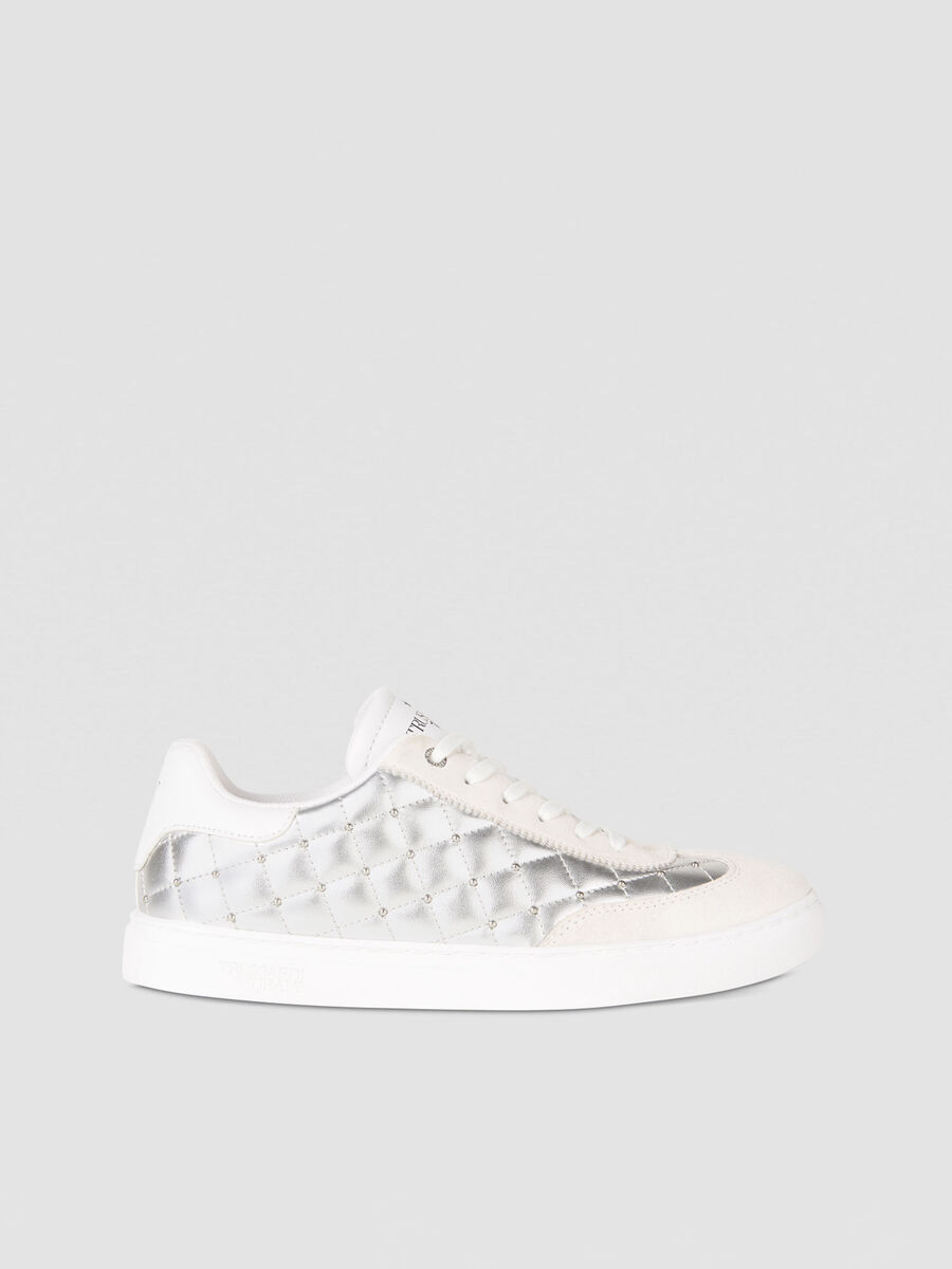 T-Cube sneakers in quilted metallic faux leather