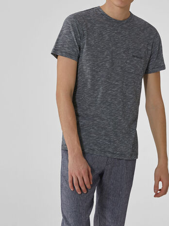 Regular-fit melange cotton and linen T-shirt