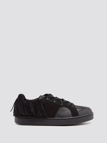 Suede and leather sneakers with fringing