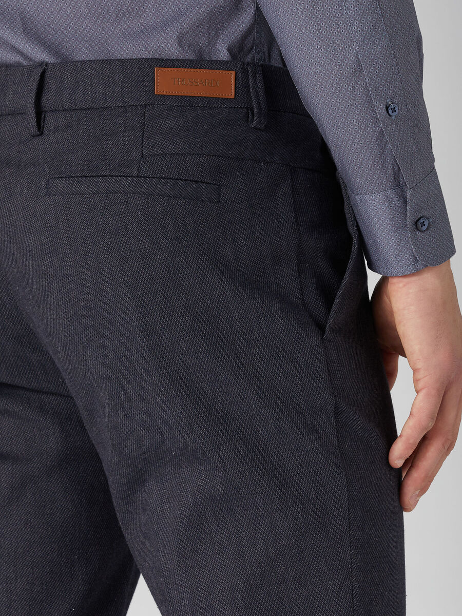 Textured cotton Stamford-fit trousers