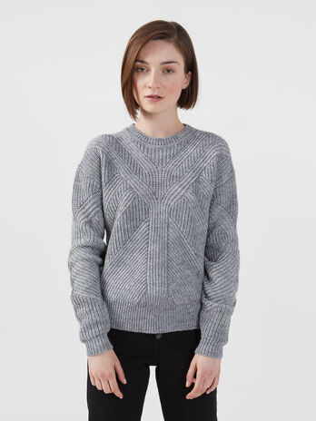 Pullover cropped fit in misto alpaca