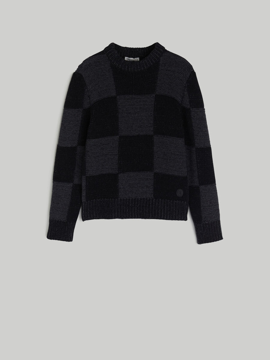 Chequered wool pullover
